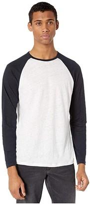 Vince Long Sleeve Baseball Crew Neck Tee (Coastal/Optic White) Men's Clothing
