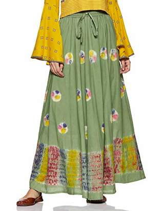 Habiller Women's Cotton Flared A-Line Gypsy Skirt Green Tie-Dye 25 Yards Skirt~SKT504-GRN ()