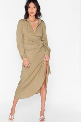 Nasty Gal Womens That's a Wrap Midi Shirt Dress - Stone