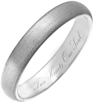 Theia Titanium Matted Engraved 'Two Hearts One Soul' - 4mm Ring - Size L