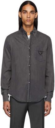 Prada Black Denim Metal Triangle Shirt