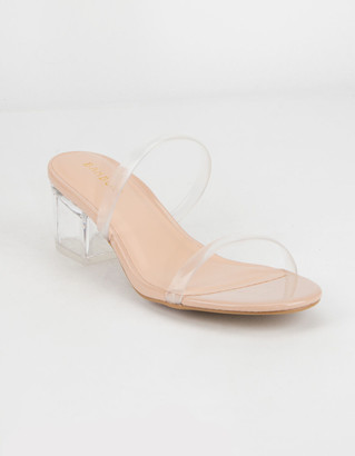 Bamboo Lucite Double Strap Womens Heels