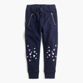 J.Crew Girls' skinny-zip sweatpant with sequin hearts