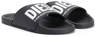 Diesel logo strap pool slides