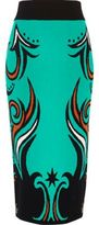 River Island Womens Turquoise intarsia knit pencil skirt