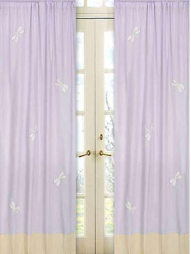 JoJo Designs Sweet Purple Dragonfly Dreams Collection Window Panels - Set of 2