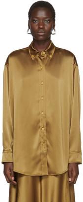 Sies Marjan Tan Crinkled Satin Kiki Oversized Shirt