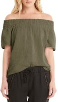 Michael Stars Women's Smocked Cotton Off The Shoulder Top