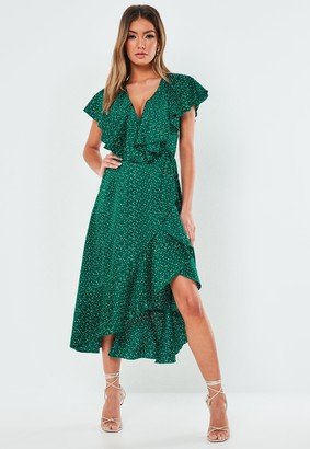 Missguided Green Polka Dot Satin Ruffle Tea Dress