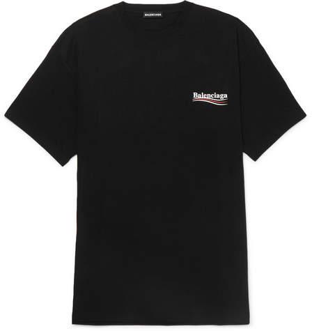 Balenciaga Oversized Logo-Print Cotton-Jersey T-Shirt