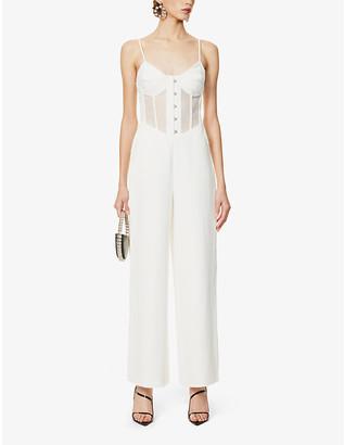 Lavish Alice Semi-sheer front stretch-crepe jumpsuit
