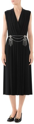 Gucci V-Neck Pleated Jersey Cocktail Dress