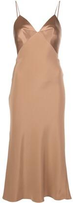 Cushnie Satin-Bust Midi Dress