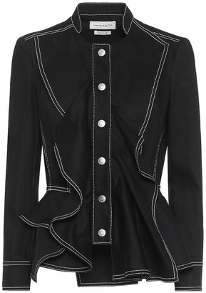 Alexander McQueen Cotton peplum jacket