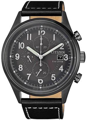 Citizen Men's Eco-Drive Black Leather Dress Watch, 45mm