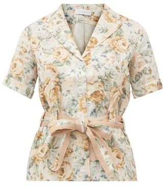 Ephemera - Belted Floral-print Linen Safari Shirt - Yellow Multi