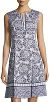 Maggy London Flower-Print Fit-and-Flare Dress, Purple/White