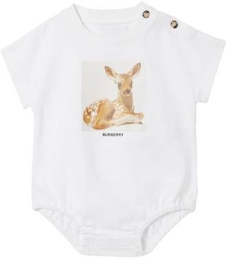 Burberry Bambi Printed Cotton Jersey Bodysuit
