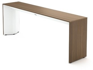 "Steelcase Campfire 66"" Console Table Table Base Color: Arctic White, Table Top Color: Virginia Walnut"