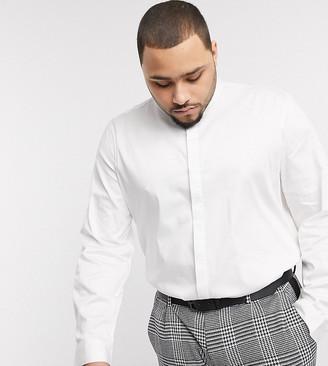 ASOS DESIGN Plus regular fit sateen shirt with mandarin collar in white
