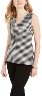 Charter Club Petite Gingham-Print Button-Detail Top, Created for Macy's
