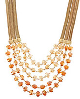 Kenneth Cole Orange Faceted Bead Multi Row Necklace