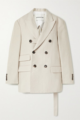 ANDERSSON BELL Verona Double-breasted Linen And Cotton-blend Blazer - Cream