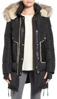 Rudsak Quilted Down Coat with Genuine Fur and Shearling Trim