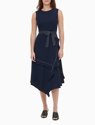 Calvin Klein Contrast Stitch Belted Asymmetric Dress