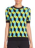 Michael Kors Geometric Print Cashmere Top