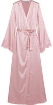 I.D. Sarrieri Tendresse Chantilly Lace-trimmed Silk-blend Satin Robe - Pastel pink