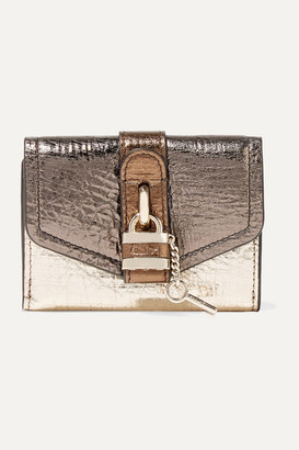 Chloé Aby Metallic Color-block Textured-leather Wallet - Gold