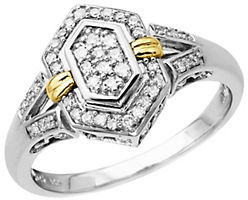 Lord & Taylor Diamond Ring in Sterling Silver with 14 Kt. Yellow Gold