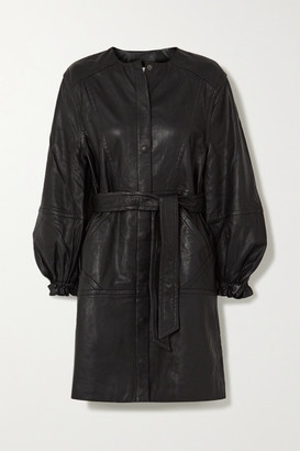 MUNTHE Belted Leather Mini Dress - Black