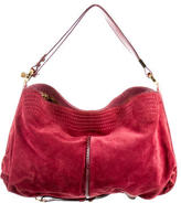 Jimmy Choo Python-Trimmed Suede Ayse Hobo