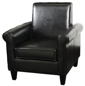 """Charlton Home Leis 20"""" Club Chair Fabric: Faux Leather Black"""