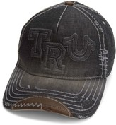 Men's True Religion Brand Jeans Denim Baseball Cap - Black