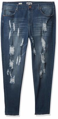 Dollhouse Women's Plus-Size Broom Heavy Destructed Skinny Jean