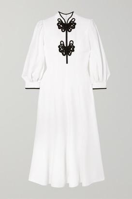 Andrew Gn Satin-appliqued Crepe Midi Dress - White