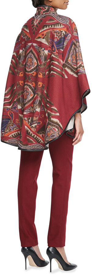 Etro Leather Belted Paisley Poncho, Red