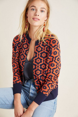 Anthropologie Bonnie Floral Knit Bomber Jacket