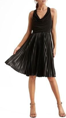 Halston Pleat Fit & Flare Cocktail Dress