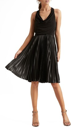 Halston Pleat Fit & Flare Cocktail Dress
