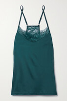 Thumbnail for your product : Hanro Lucy Lace-trimmed Stretch-satin Camisole - Green