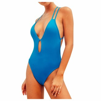 Ways One Piece Women Sling Tankini Swimsuits Deep V Neck Tummy Control Swimsuit Swimwear Cover Ups for Women Sexy Strappy Bandage Bikini Bathing Suits Plus Size(L