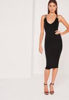 Missguided Double Strap Cross Back Plunge Midi Dress Black