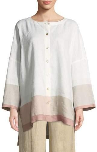 Go Silk Bicolor-Trim Linen Boyfriend Tunic, Petite