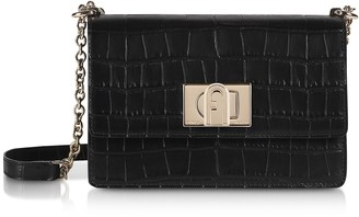 Furla Black Croco Embossed Leather 1927 Mini Crossbody Bag 20