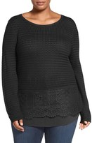 Lucky Brand Plus Size Women's Layer Look Lace Mix Sweater