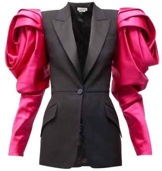Alexander McQueen Satin-sleeve Single-breasted Wool Blazer - Womens - Black